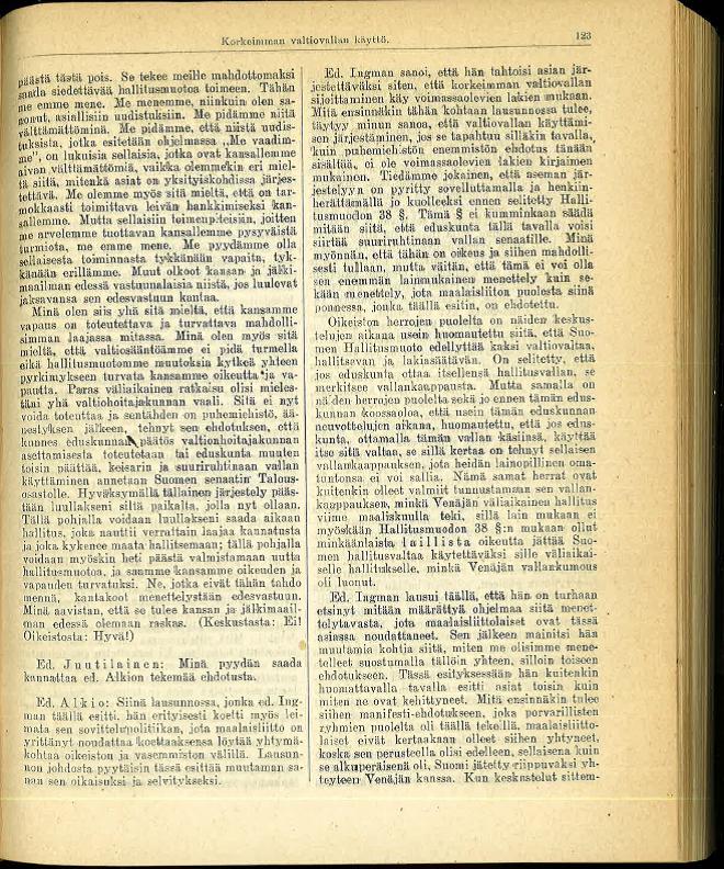 1917 1115 demo Ingman s 123 Toiset valtiopäivät 1917 pöytäkirjat I Istunnot 1-48 valtiopäivien alusta tammikuun 25 päivään Istunto 15.11