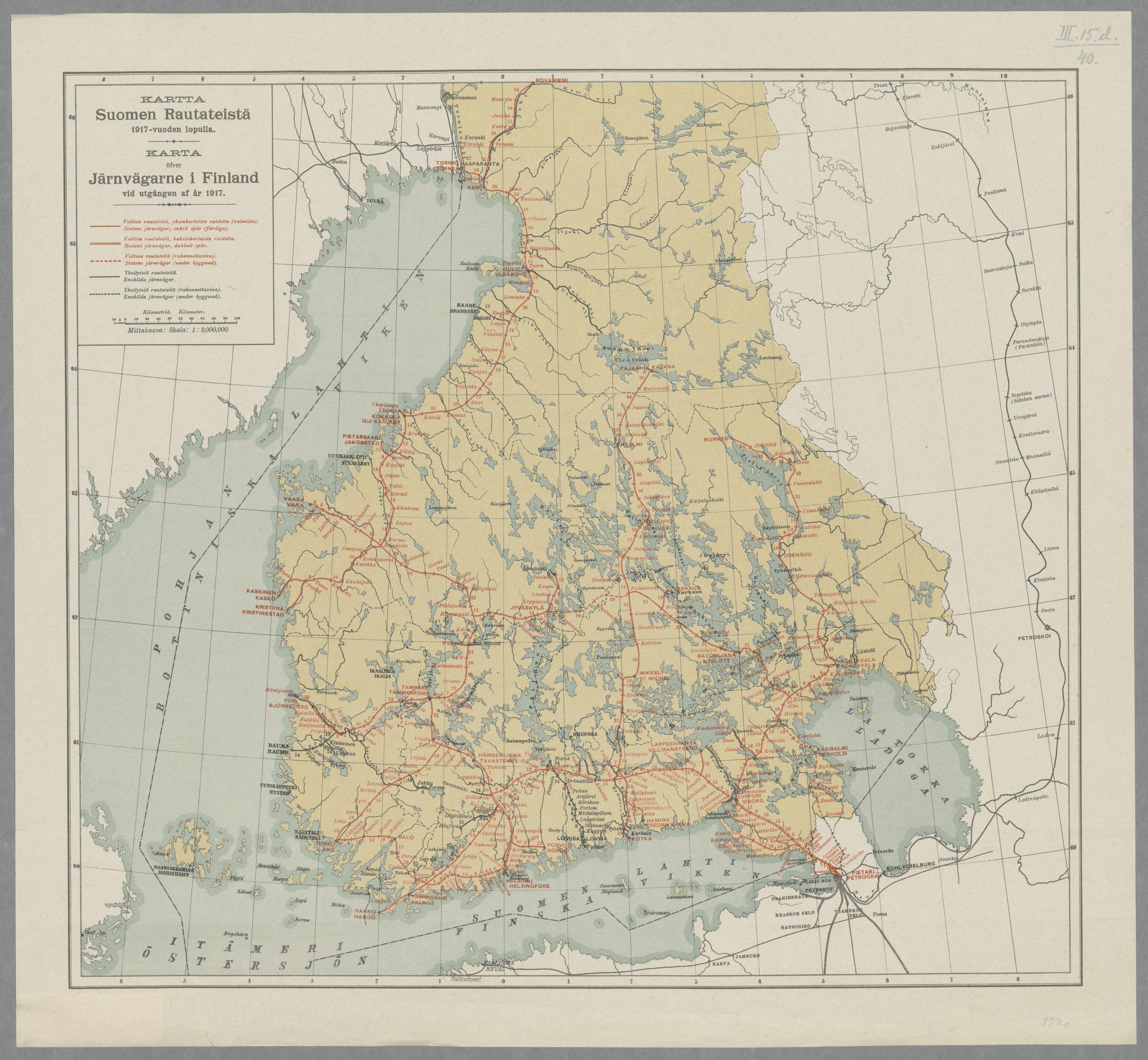 Suomen rautatieverkoston pääosa oli valmiina maan itsenäistyessä.