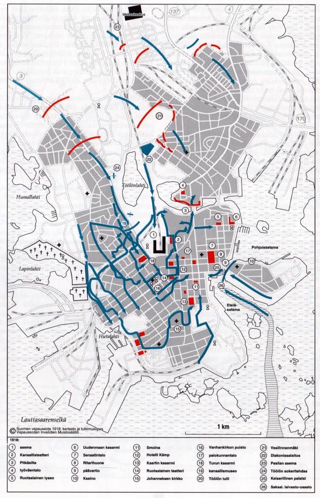 Helsingin valtaus huhtikuussa 1918. Saksalaisjoukkojen etenemistä punaisten puolustuslinjojen läpi kuvataan sinisillä nuolilla.