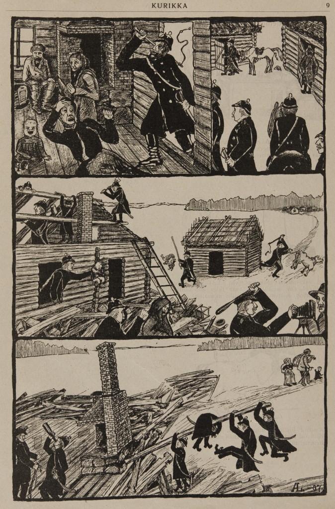 Pilalehti Kurikassa 1907 julkaistu piirrossarja Laukon häädöistä. (Työväen Arkisto)