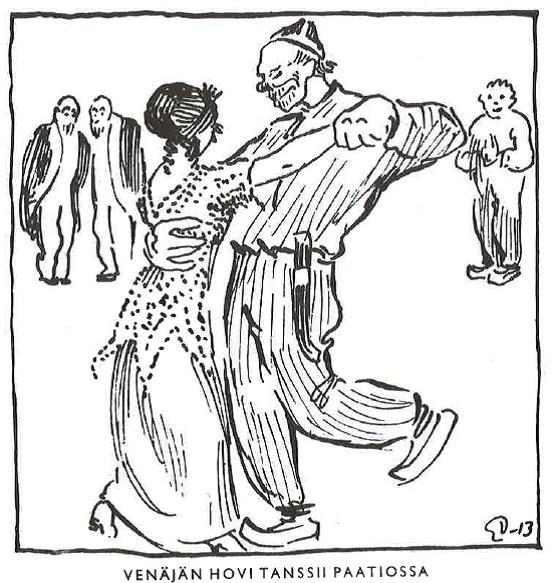 1913 Eric Vasströmin pilakuva Fyren-lehdestä, sai tuomion majesteettirikoksesta Skannattu Olavi Järvi Parhaat pilapiirtäjämme Tammi 1979 s 151