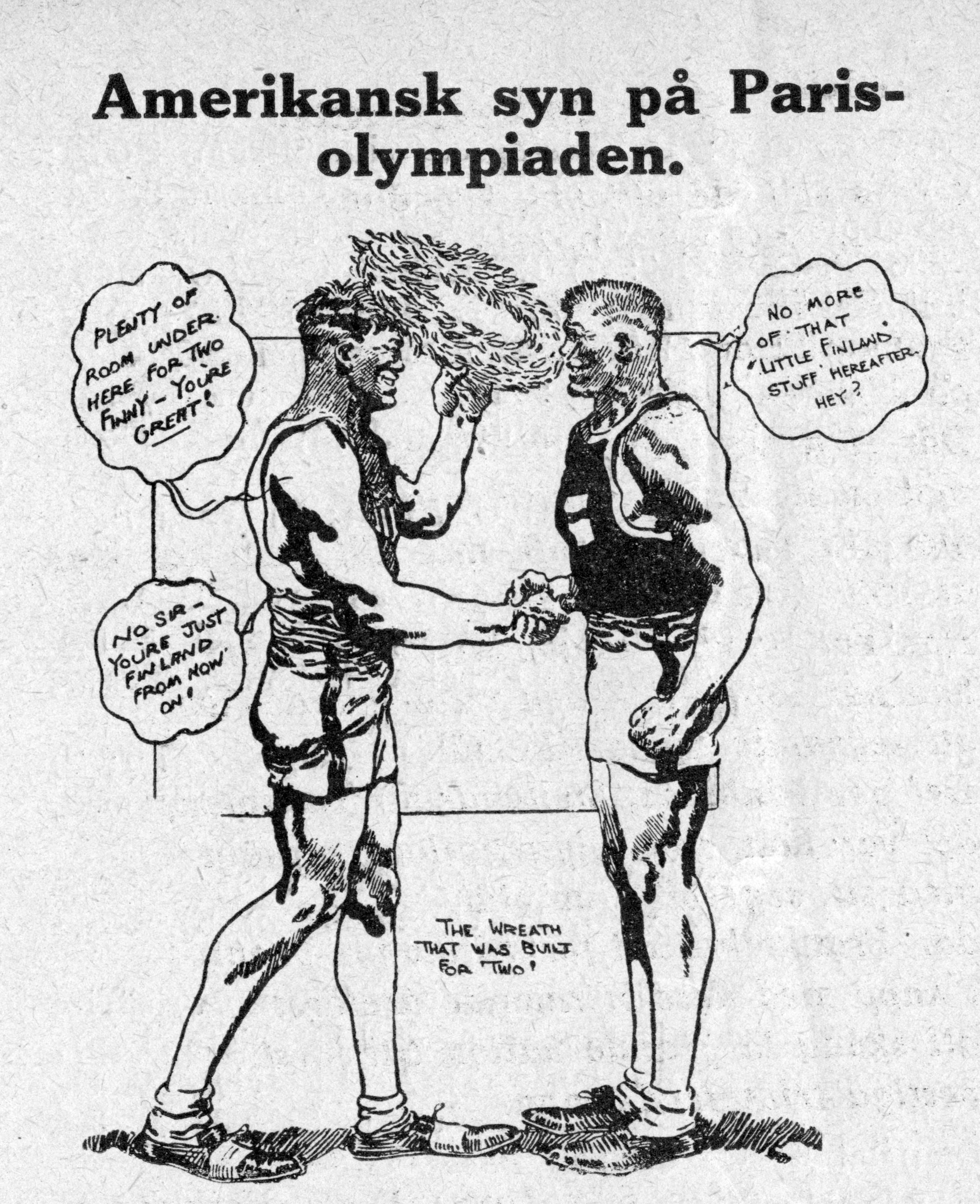 """Sekä Idrottsbladet että Suomen Urheilulehti julkaisivat elokuussa 1924 Yhdysvalloissa ilmestyneen piirroksen, jossa """"suuri Amerikka kättelee suurta Suomea""""."""