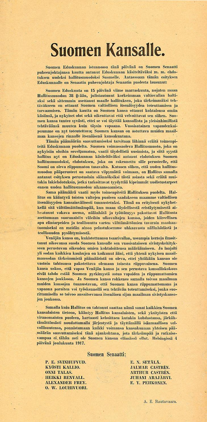 Suomen itsenäisyysjulistus painettuna.