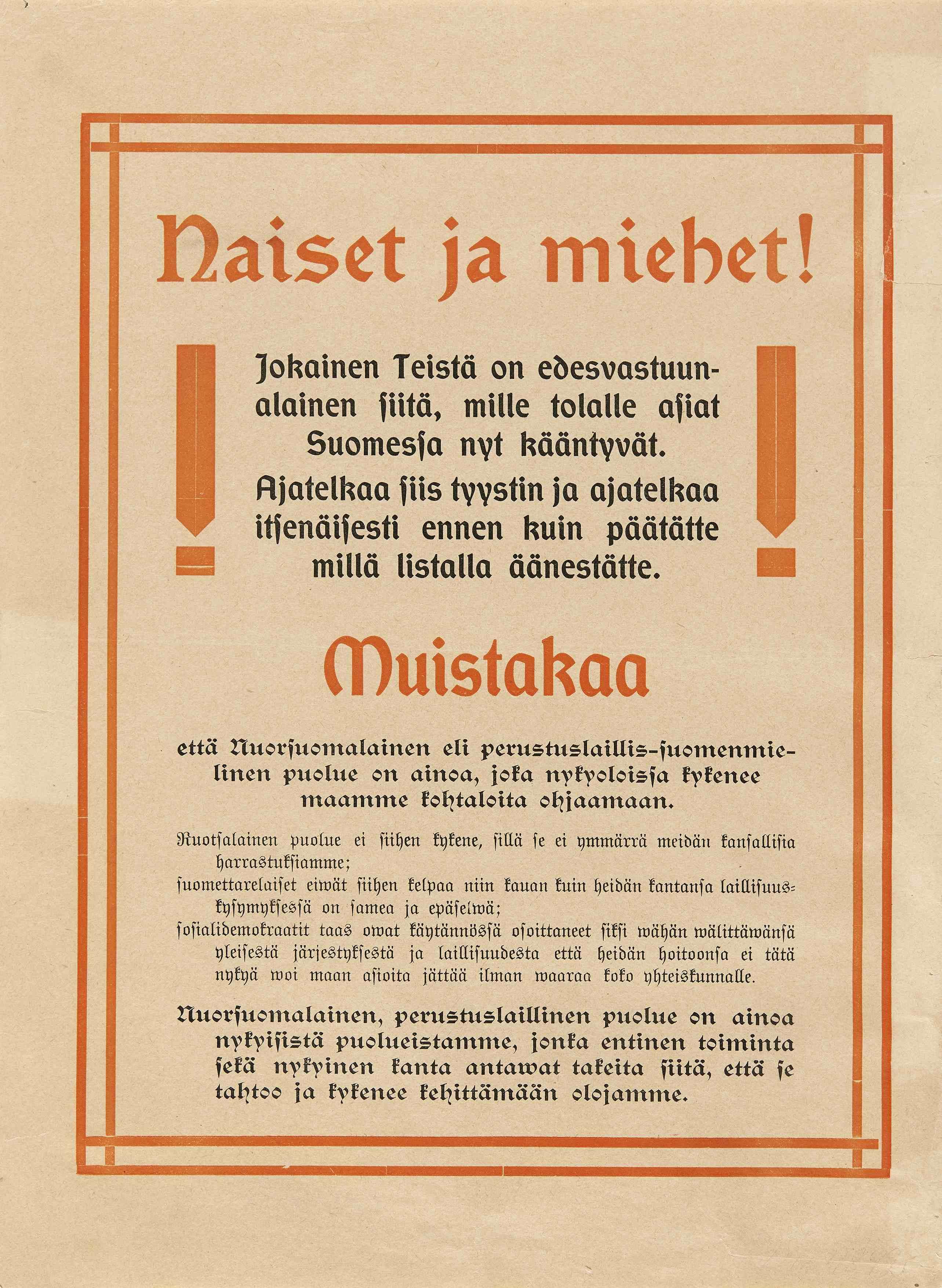 Nuorsuomalaisen puolueen vaalimainos vuodelta 1907. (Museovirasto)