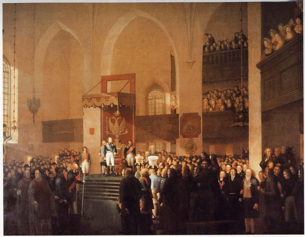 Porvoon valtiopäivien avajaisjumalanpalvelus 1812.
