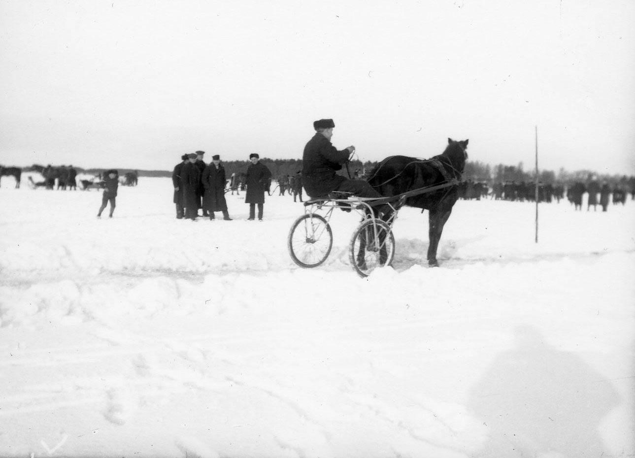 Hevoskilpailuita järjestettiin jäällä Suomessa jo 1800-luvun alkupuolella. Kuva on Uudessakaupungissa 1900-luvun alkupuolella järjestetyistä raveista. (Uudenkaupungin museo)