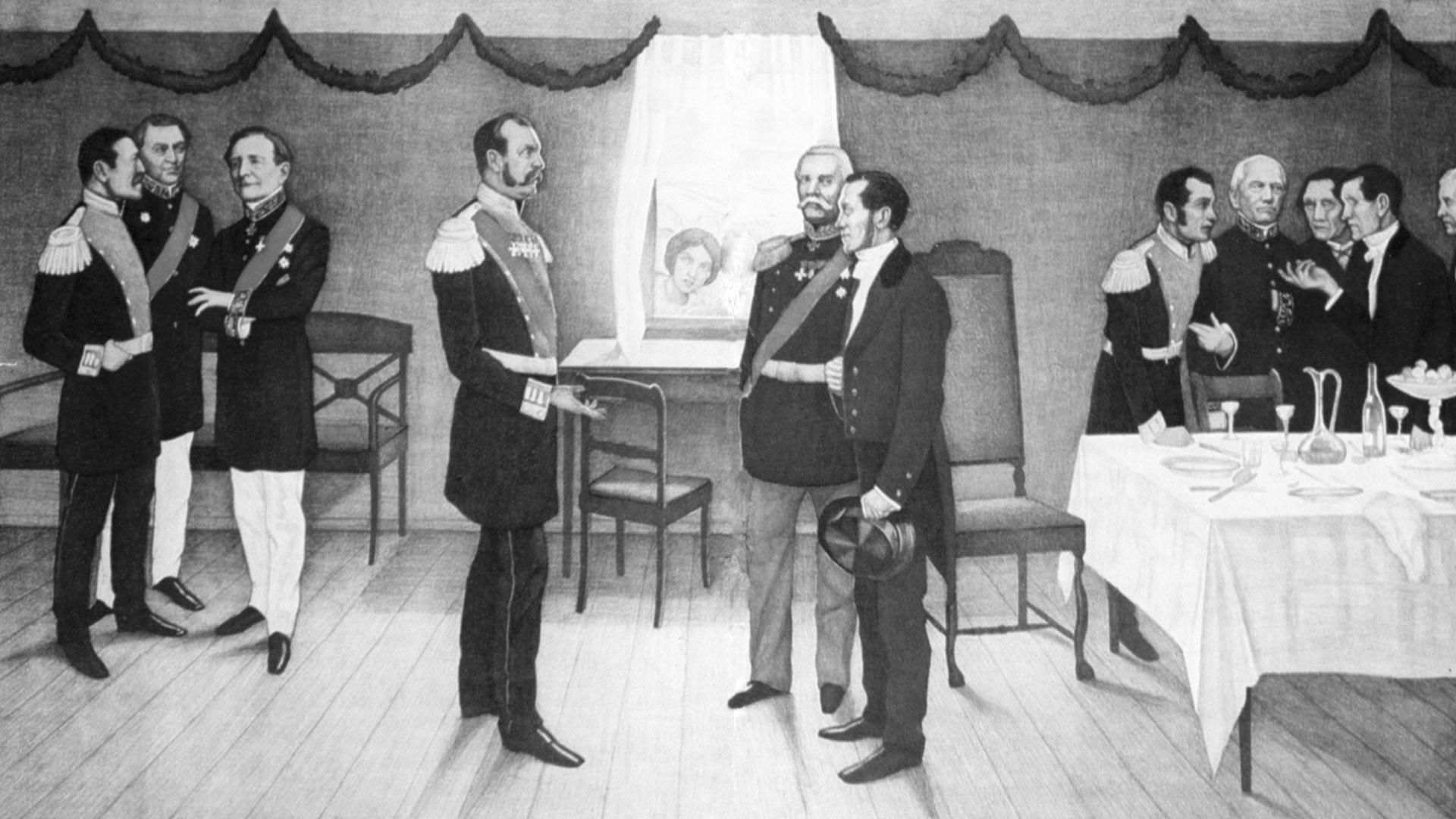 J. V. Snellman esitellään keisari Aleksanteri II:lle Parolassa heinäkuussa 1863. Kustannusosakeyhtiö Otavan opetustauluna julkaisema kivipiirros.