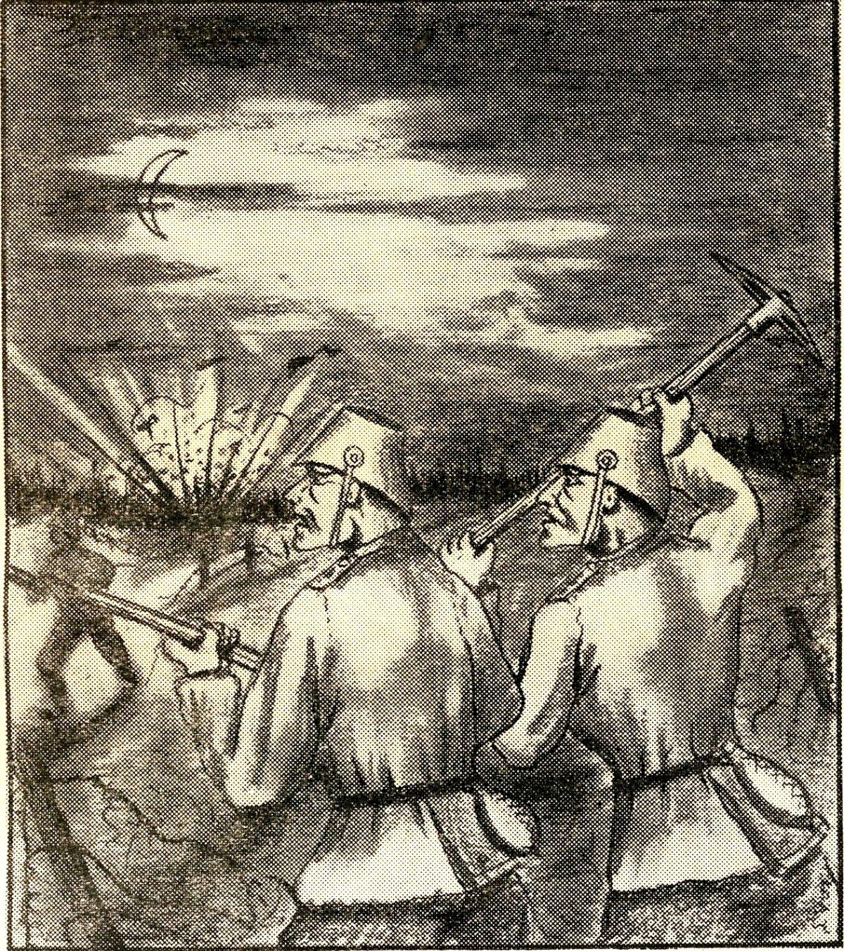 Piirroskuva Schmardenin taistelusta.