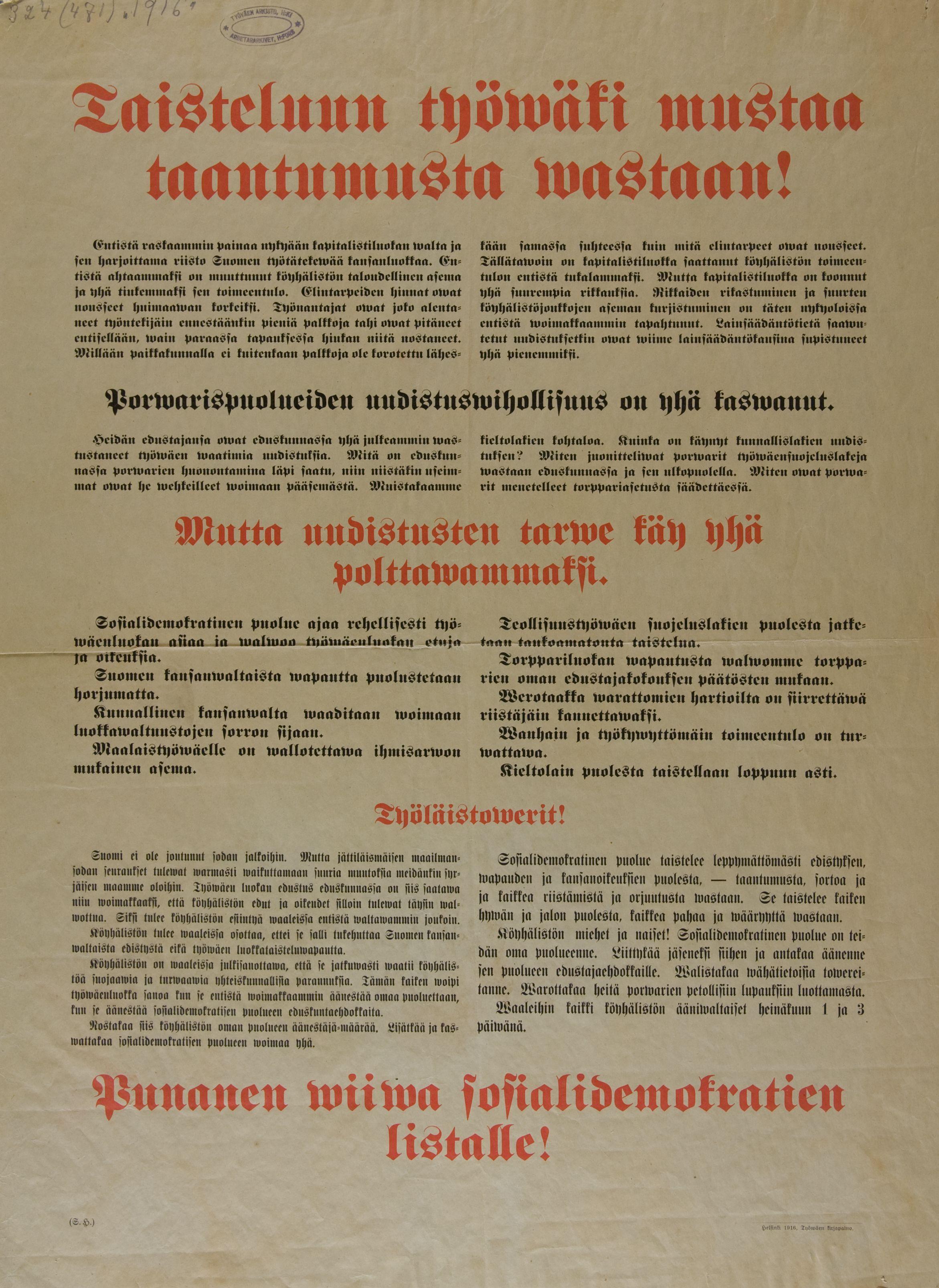 SDP_vaalijulisten_1916