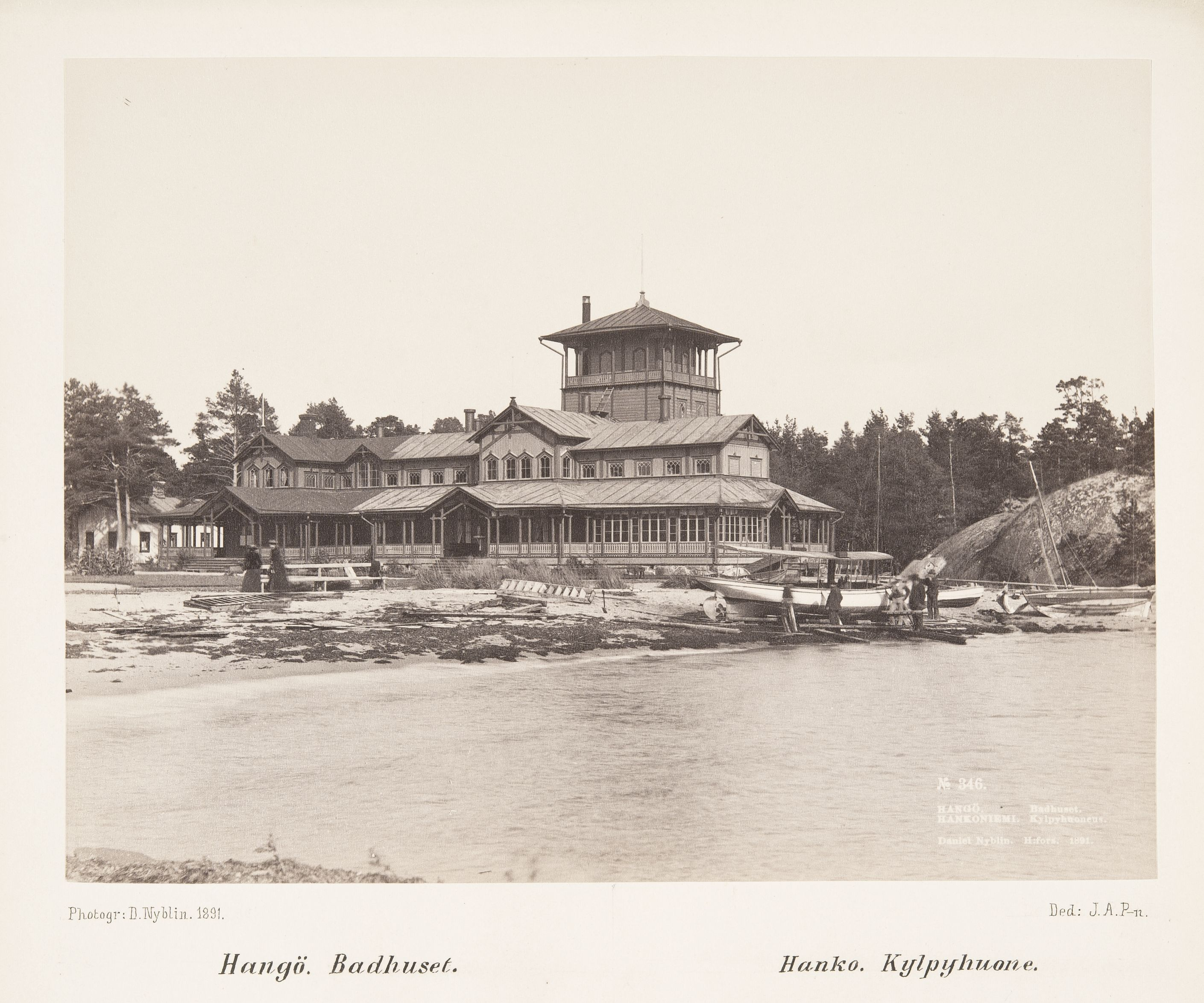 Hangon kylpylä vuonna 1891. (Daniel Nyblin / Museovirasto)
