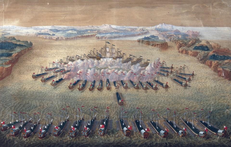 Maurice Baquoin vuosina 1724–1727 valmistunut kaiverrus Riilahden meritaistelusta.