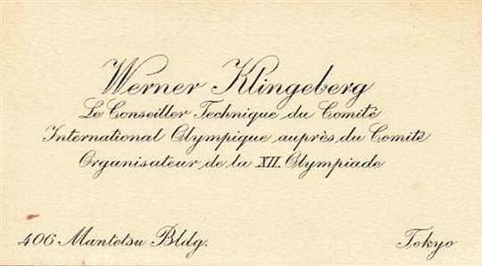 Werner Klingebergin Tokion olympiavalmistelujen aikana käyttämä käyntikortti.