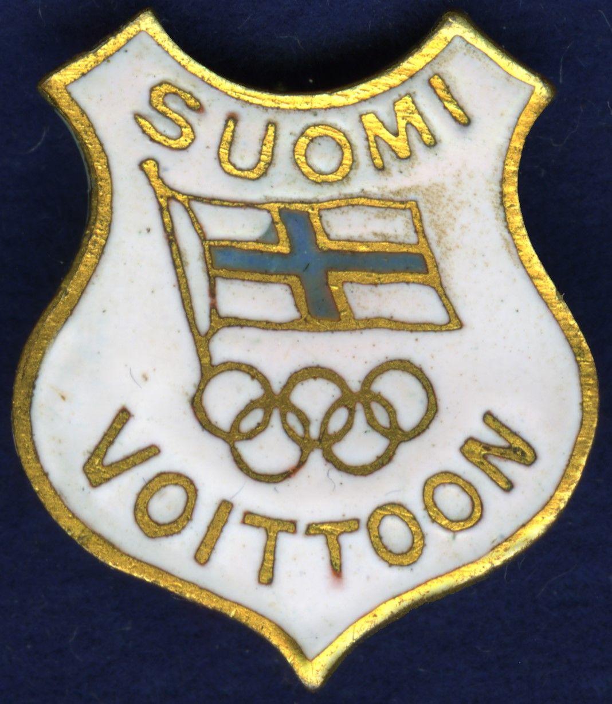 Suomi voittoon -merkkejä myytiin maailmansotien välillä olympiaurheilijoiden valmennus- ja matkakulujen rahoittamiseksi. (Suomen Urheilumuseo)