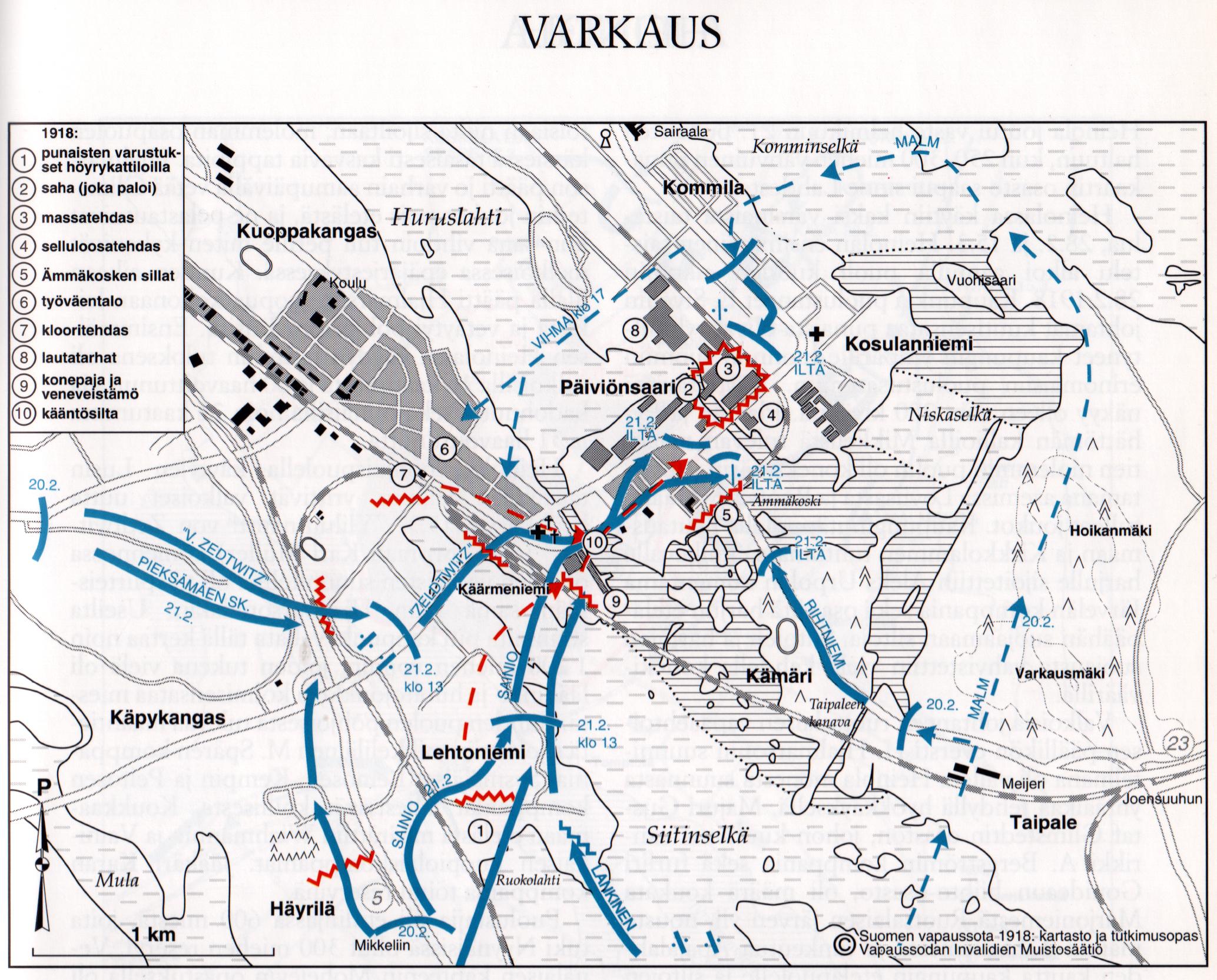 Valkoinen armeija valtasi Varkauden 19. – 21.2.1918 käydyssä taistelussa, joka alkoi Varkauden piirityksellä 19. helmikuuta. Varsinainen hyökkäys alkoi 20. helmikuuta. Punaiset antautuivat saman päivän iltana klo 22, minkä jälkeen alkoivat rankaisutoimet. (Vapaussodan Invalidien Muistosäätiö)