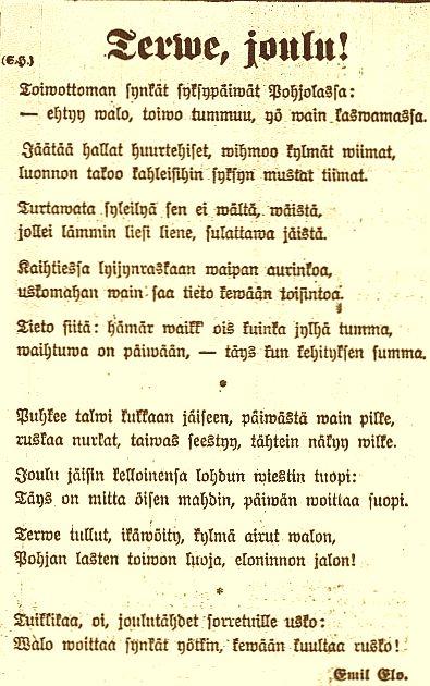 Emil Elon runo ilmestyi 24.12.1916.