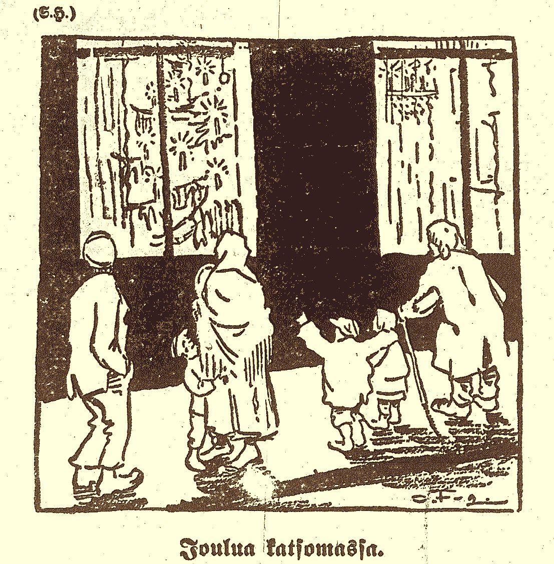 Ola Fogelholmin piirros Työmiehessä 23.12.1916.