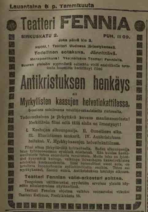 Kuva: Vuoden 1917 alun elokuvatarjontaa. Antikristuksen henkäyksen aiheena oli taistelukaasujen käyttö maailmansodassa.