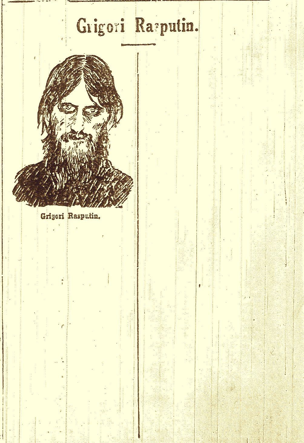 Sensuuri jätti Uuden Suomettaren 6.1.1917 ilmestyneestä Grigori Rasputinia käsittelevän artikkelin alusta jäljelle vain otsikon ja piirroskuvan.