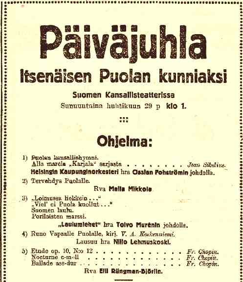 Former autonomous Imperial Russian subjects, unite! Cheers!  As a sidenote, the Polish experience and the process towards independence really influenced the thinking in Finland towards full independence and especially when the Provisional Government in March of 1917 publically gave its support for Polish independence, that was a big enough of a deal for the Finns to organize matinees in honor of independent Poland and write poems (scroll to the bottom, in Finnish here) about it. 100 years later, it's weird to think how things could have been for both of us had things gone differently!