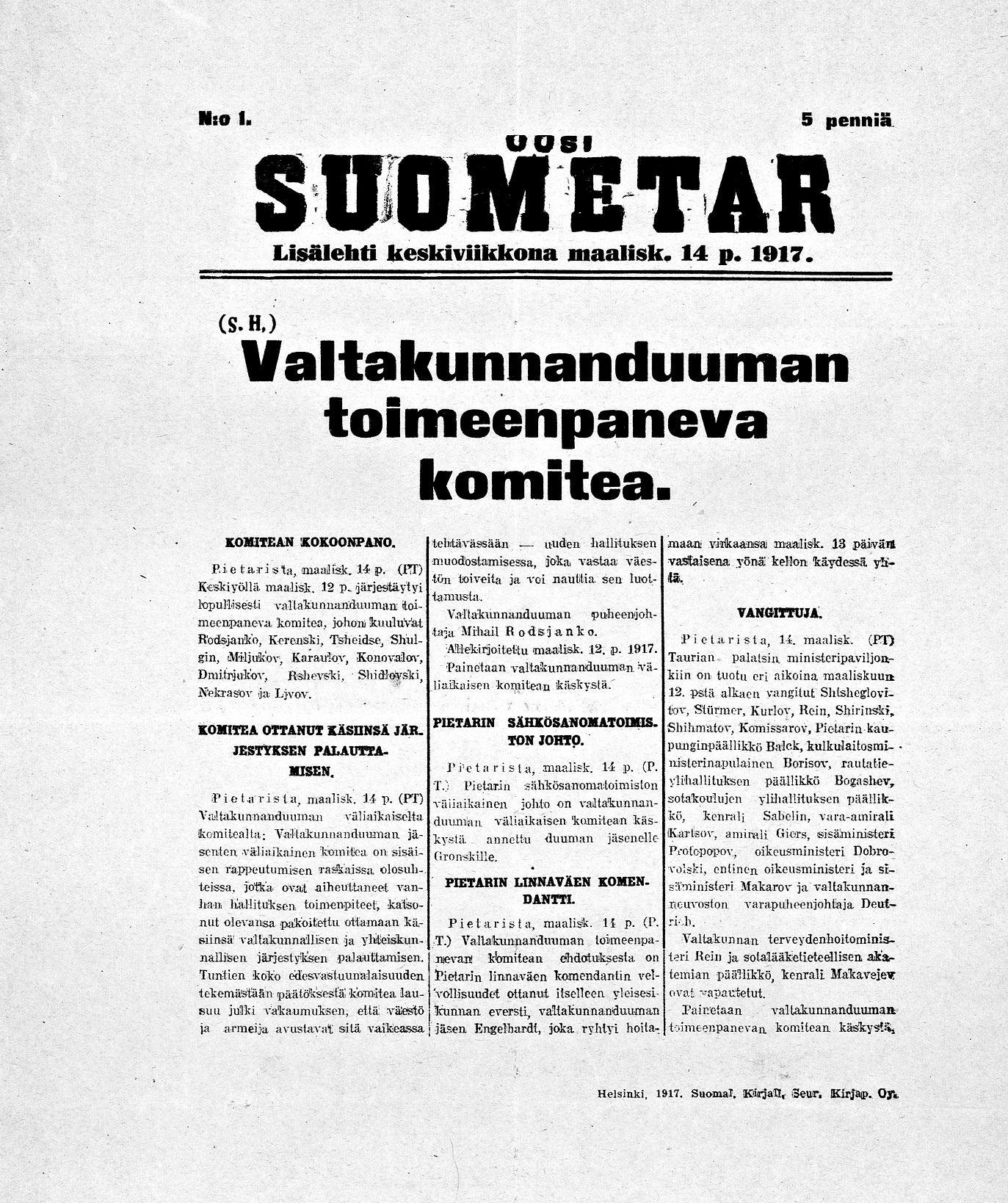 Uusi Suometar_14.3.1917