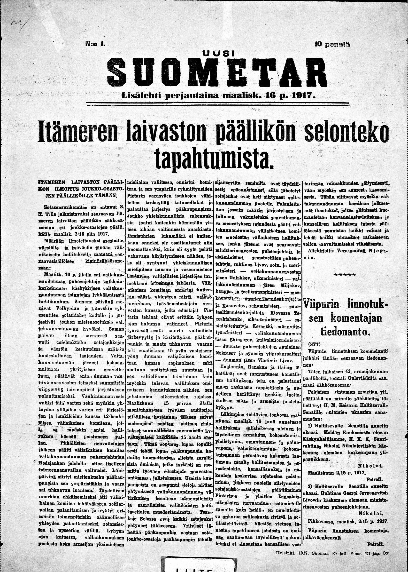 Uusi Suometar_16.3.1917